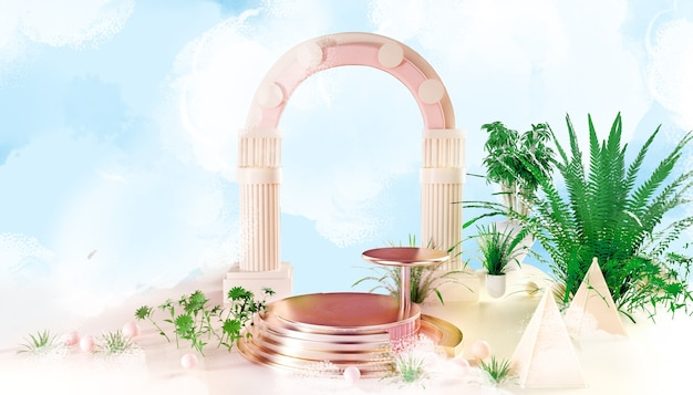 3d-darstellung des goldenen kreisförmigen podiums auf der wolke für produktanzeige