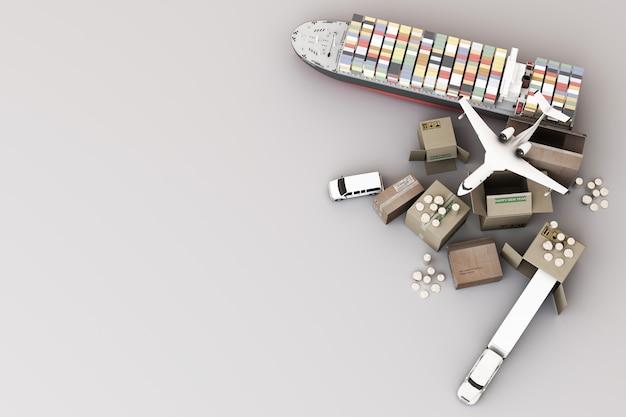 3d-darstellung des kistenkastens, umgeben von pappkartons, einem frachtcontainerschiff, einem flugplan, einem auto, einem van und einem lkw