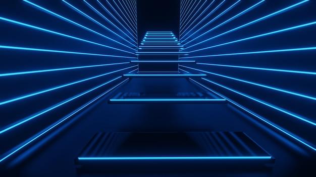 3d-darstellung des korridors, der treppen, der lichter abstrakter blauer neon