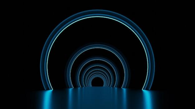 3d-darstellung des korridors mit neonlichtern und bögen