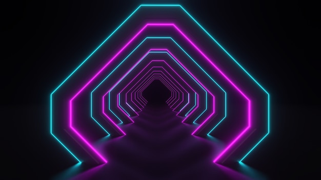 3d-darstellung des korridors mit neonlichtern