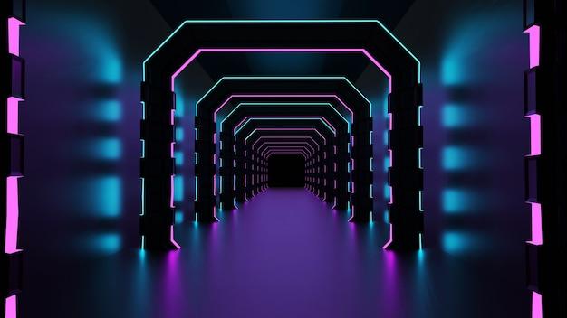 3d-darstellung des korridors mit rosa neonlichtern