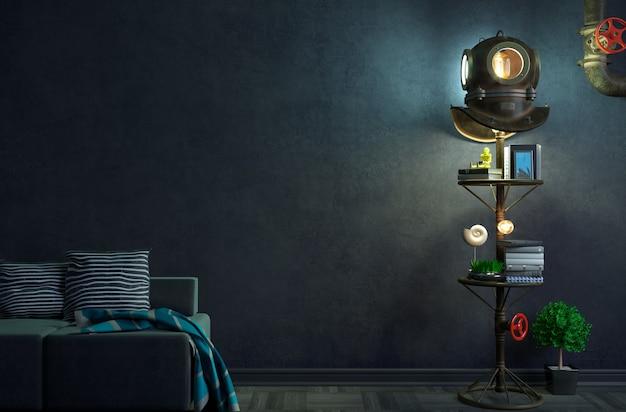 3d-darstellung des kreativen lofts mit antikem tauchen