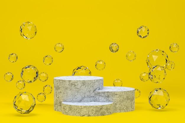 3d-darstellung des luxuspodestes mit kristallen