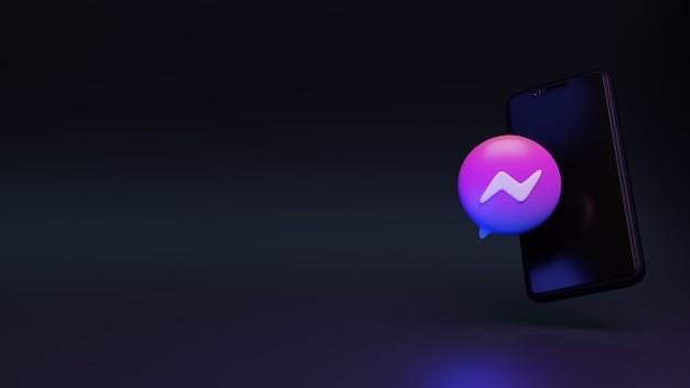 3d-darstellung des messenger-symbols mit smartphone oder mobiler social-media-werbung