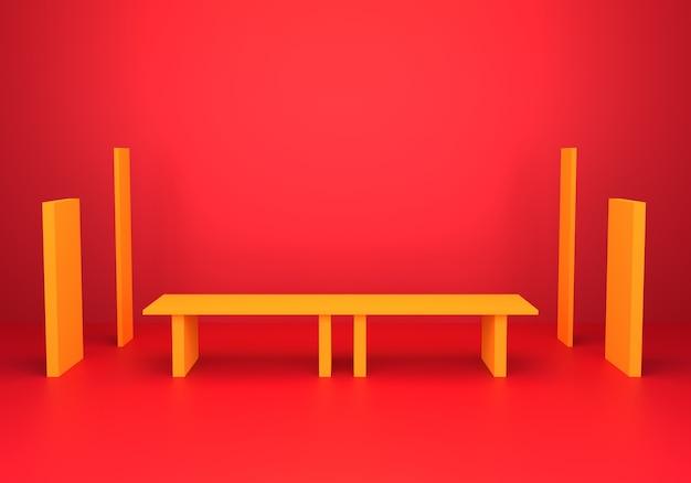 3d-darstellung des minimalen hintergrunds des leeren goldabstrakten mit podium.