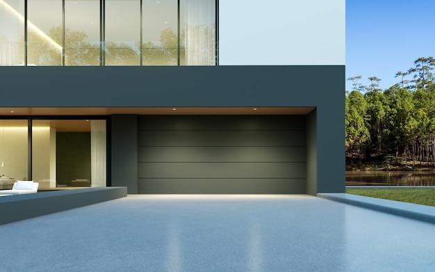 3d-darstellung des modernen luxushauses mit garage