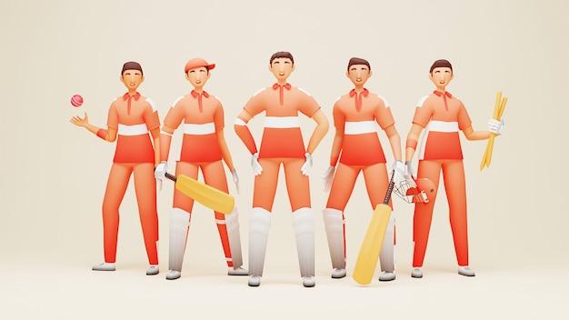 3d-darstellung des niederländischen cricket-teamspielers mit turnierausrüstung auf beigem hintergrund.
