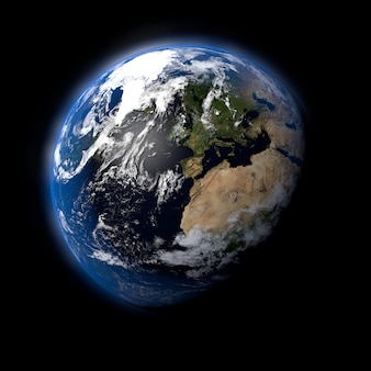 3d-darstellung des planeten erde aus dem weltraum