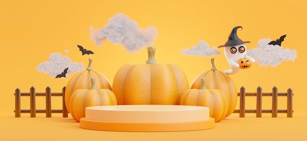 3d-darstellung des podiums mit halloween-konzept, kürbis, fledermaus, wolke, geist für produktpräsentation