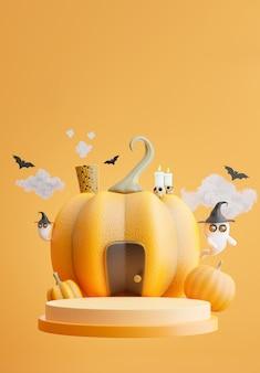 3d-darstellung des podiums mit halloween-konzept, kürbishaus, fledermaus, wolke, geist für produktpräsentation