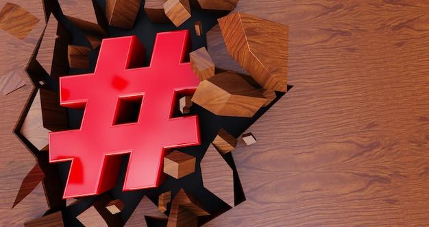 3d-darstellung des roten hashtag-symbols auf rissigem hintergrund, roter hashtag auf hölzernem hintergrund