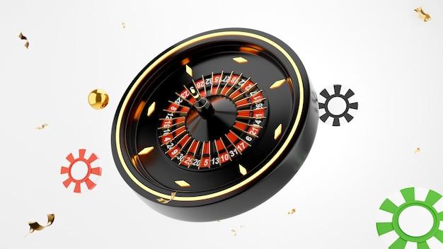 3d-darstellung des roulette-casino-spielkonzepts auf weißem hintergrund