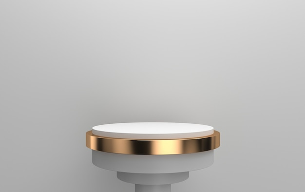 3d-darstellung des runden sockels im grauen hintergrund, zylindrische plattform mit golddetail, 3d-darstellung, szene mit geometrischen formen, minimaler abstrakter hintergrund