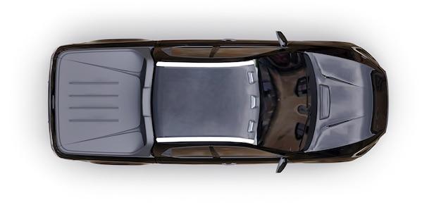 3d-darstellung des schwarzen konzeptfracht-pickup-trucks auf weißem lokalisiertem hintergrund. 3d-rendering.