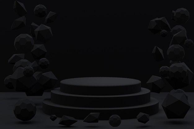 3d-darstellung des schwarzen podiums