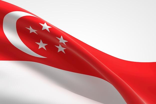 3d-darstellung des singapurischen fahnenschwingens.
