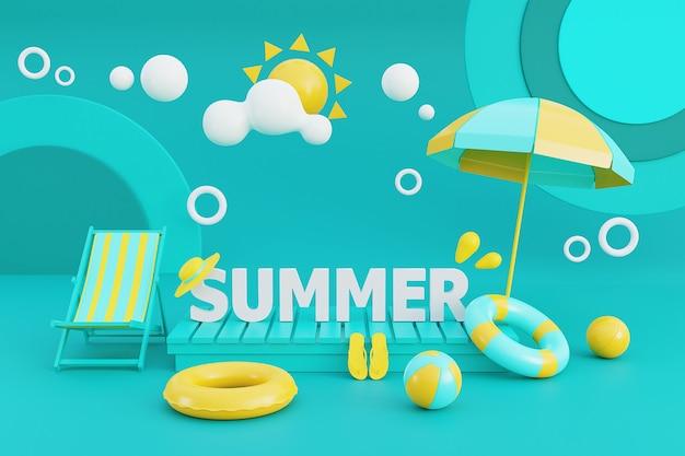 3d-darstellung des sommerferienkonzepts mit strandkorb, regenschirm und sommerelementen. 3d-darstellung.