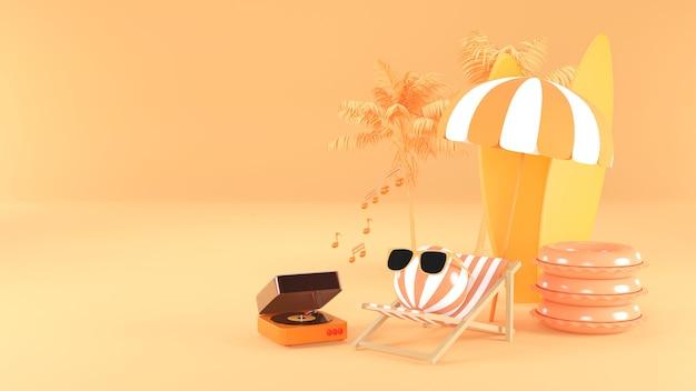 3d-darstellung des sommermusik-players am strand. 3d-rendering.