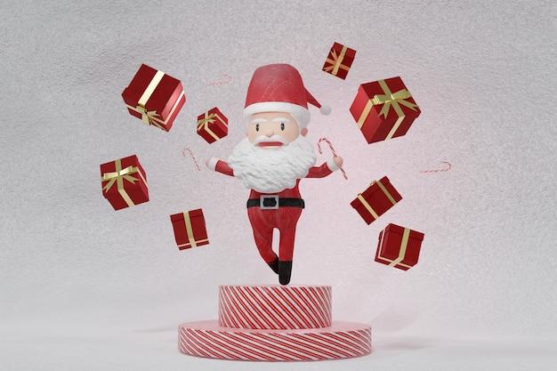 3d-darstellung des tanzes eines fröhlichen weihnachtsmannes auf gelesenem und weißem podium