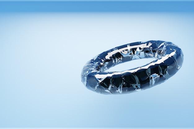 3d-darstellung des transparenten glasrings auf blauem hintergrund. geometrische formen in form eines rings im symbol der unendlichkeit.