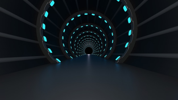 3d-darstellung des tunnels mit blauen neonlichtern