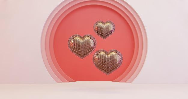 3d-darstellung des valentinsgrußes. goldene herzen, die auf rosa kreislochhintergrund schweben, minimalistisch. liebessymbol. moderner 3d-render.