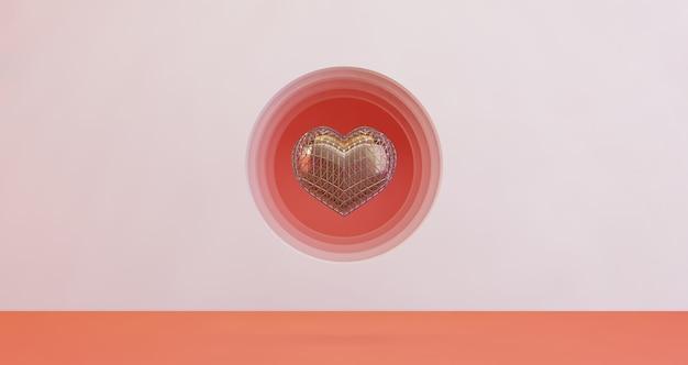 3d-darstellung des valentinsgrußes. goldenes herz, das auf rosa kreislochhintergrund schwimmt, minimalistisch. liebessymbol. moderner 3d-render.