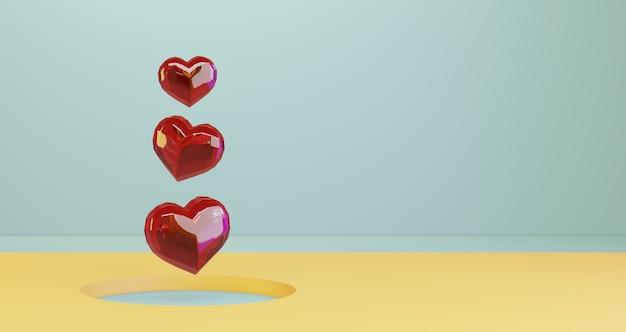 3d-darstellung des valentinsgrußes. rote kristallherzen, die auf gelbem kreislochhintergrund schweben, minimalistisch. liebessymbol. moderner 3d-render.