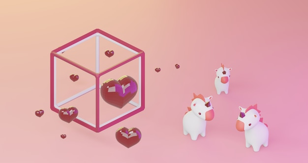 3d-darstellung des valentinsgrußes. rote kristallherzen im würfelrahmen und niedlichen einhörnern auf rosa hintergrund, minimalistisch. liebessymbol. moderner 3d-render.