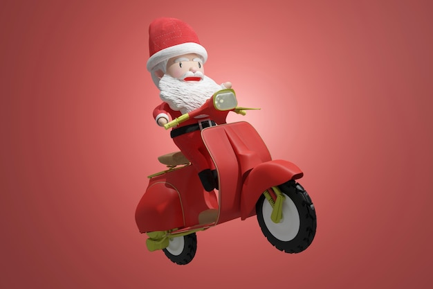 3d-darstellung des weihnachtsmanns auf einem roller