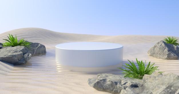 3d-darstellung des weißen podiums und der wüste