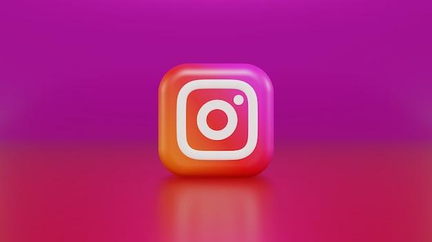 3d-darstellung, die instagram-logo auf violett-gelbem und rosa hintergrund mit farbverlauf rendert