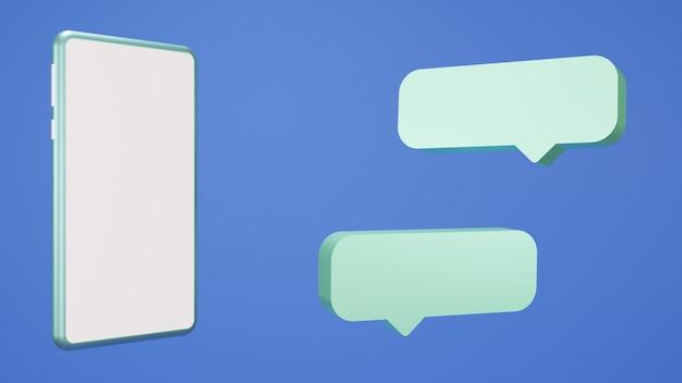 3d-darstellung ein smartphone blau mit einem chat-symbol auf der seite minimalistisch und trend