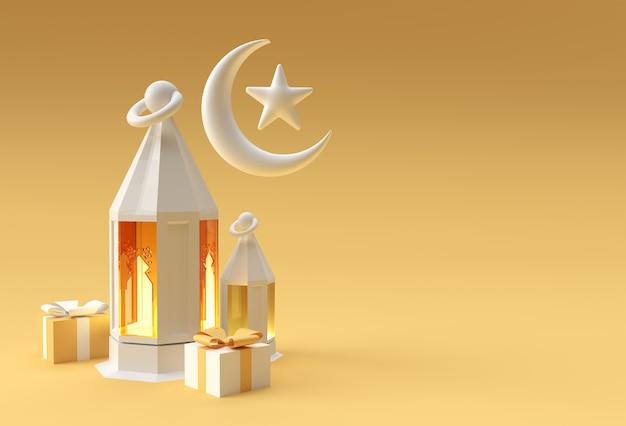 3d-darstellung einer arabischen laterne, halbmond, mit platz für ihren text. eid mubarak-feier.