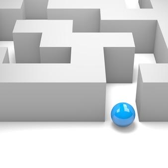 3d-darstellung einer blauen kugel in einem labyrinth