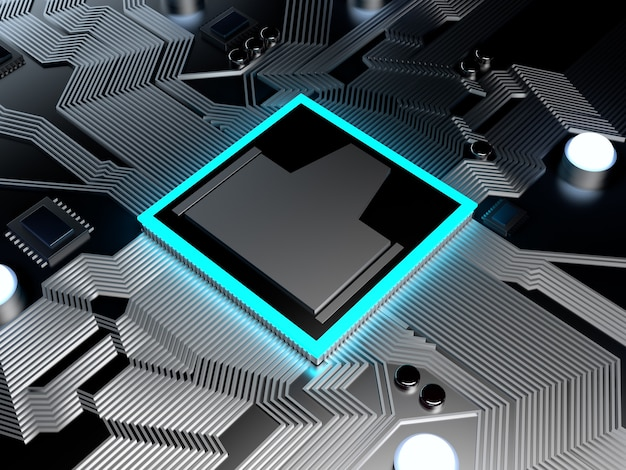3d-darstellung einer cpu auf einem computerchipsatz oder mainboard.