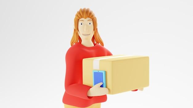 3d-darstellung einer frau, die das handy zum einkaufen verwendet. geschäftliches online-handy und e-commerce.