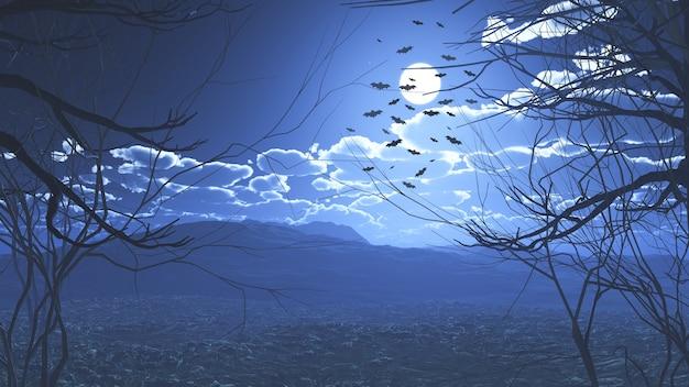 3d-darstellung einer gruseligen halloween-landschaft mit fliegenden fledermäusen
