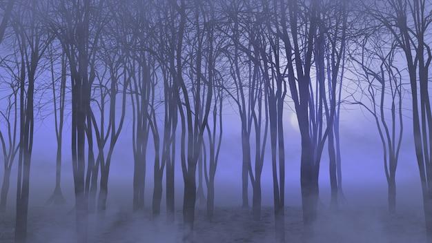 3d-darstellung einer halloween-landschaft mit nebligen wald