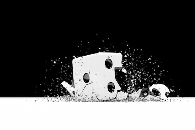 3d-darstellung einer kleinen explosion eines spielwürfels aus fragmenten die gebrochene figur fliegt