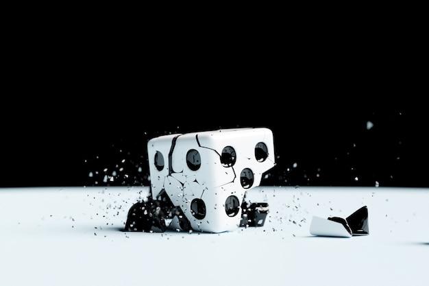 3d-darstellung einer kleinen explosion eines spielwürfels aus fragmenten. die kaputte figur fliegt in verschiedene richtungen.