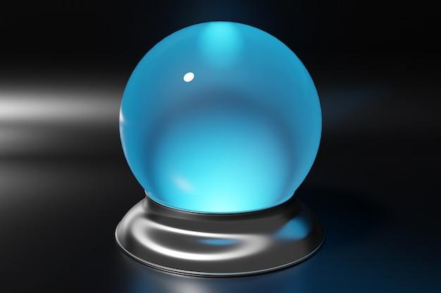 3d-darstellung einer transparenten glaskugel, kristalle streuen auf schwarzem hintergrund unter weißem neonlicht. leere magische glaskugel.