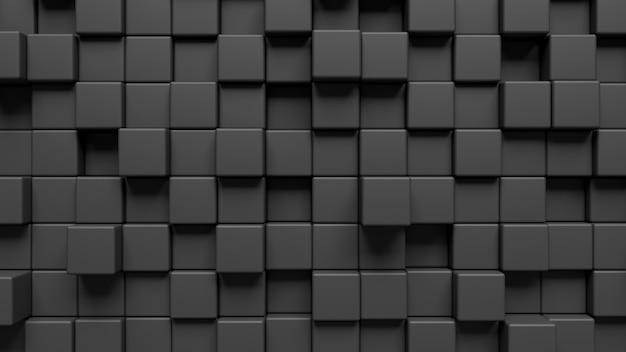 3d-darstellung einer wand mit schwarzen würfeln