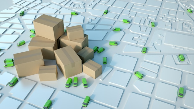 3d-darstellung einer weißen karte mit zirkulierenden grünen lastwagen und einem stapel von kartons