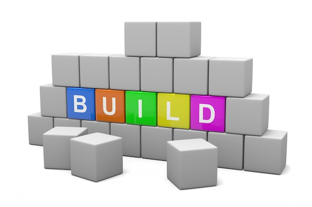 3d-darstellung einer würfelwand mit build-text