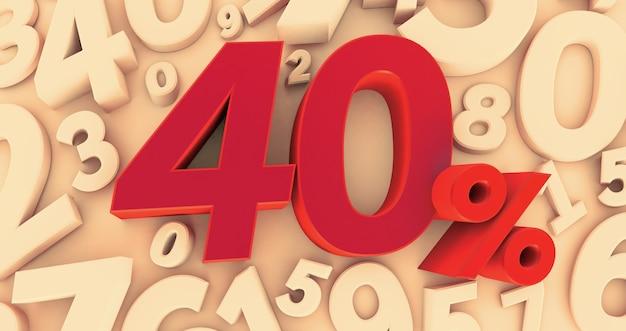 3d-darstellung eines 40-prozent-symbols auf zahlenhintergrund. 40%. verkauf von sonderangeboten. der rabatt mit dem preis beträgt 40%.