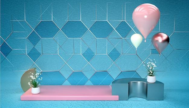 3d-darstellung eines abstrakten geometrischen hintergrunds mit luftballons und blumen für anzeigeprodukte