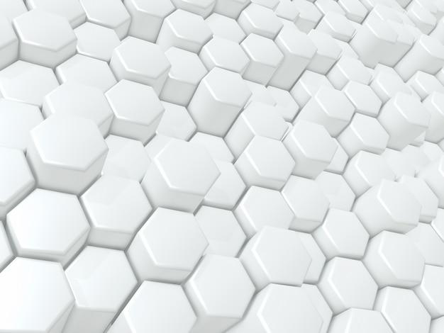 3d-darstellung eines abstrakten hintergrunds mit glänzenden, extrudierenden sechsecken