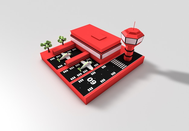 3d-darstellung eines flughafens bei tag flughafenkonzept textfreiraum